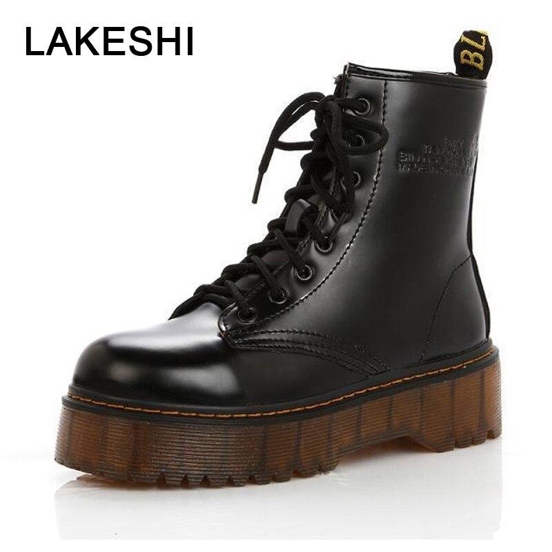 LAKESHI Creepers Frauen Stiefel Punk Kurze Stiefel Weibliche Echtem Leder Schuhe Frauen Herbst Starke Ferse Stiefeletten Weibliche Stiefel