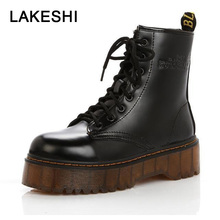 LAKESHI Creepers Women Boots Punk Short Boots