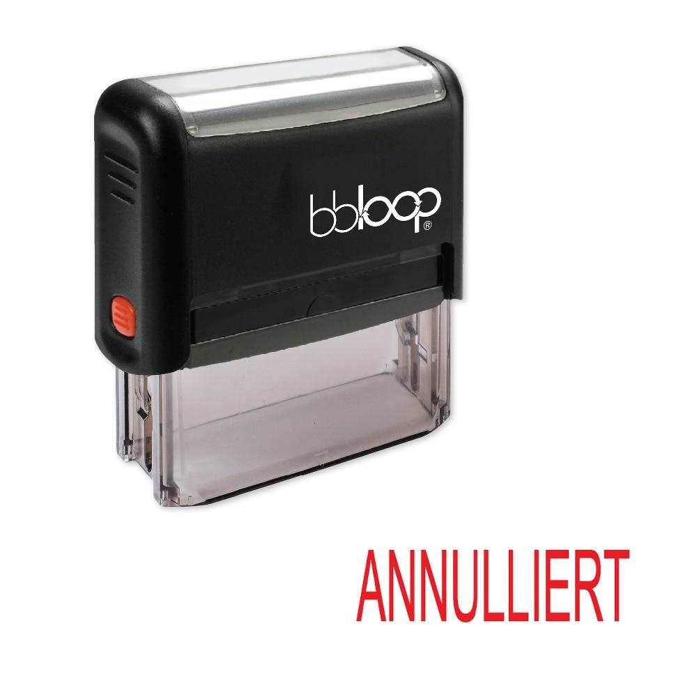 "BBloop German Language ""ANNULLIERT"" Self-Inking Stamp, Rectangular, Laser Engraved, RED"