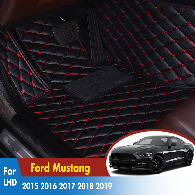 LHD Car Floor Mats For Ford Mustang 2015 2016 2017 2018 2019 Rug Anti-Slip Artificial Leather Auto Interior Accessories Carpets(China)