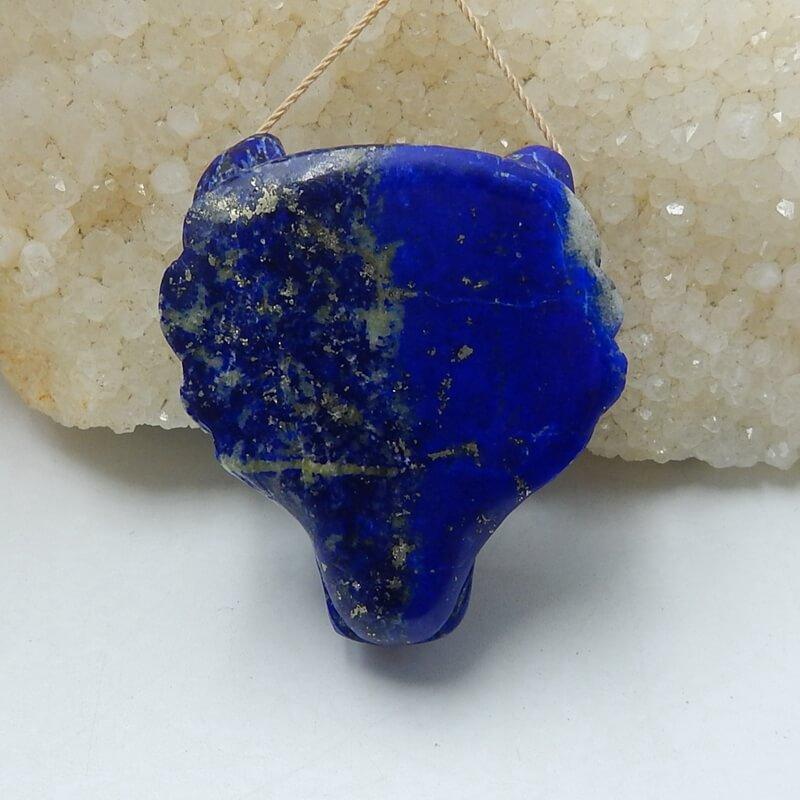 Perle de bijoux à bricoler soi-même Animal sculpté Lapis Lazuli naturel de haute qualité 42x37x18mm 37.2g tête de loup à la main à la mode pour ses meilleurs cadeaux - 6