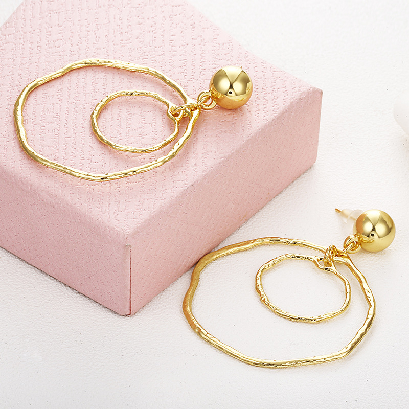 Hello Miss Creative trend new ear ring exaggerated gold irregular geometric circle earrings womens pendant
