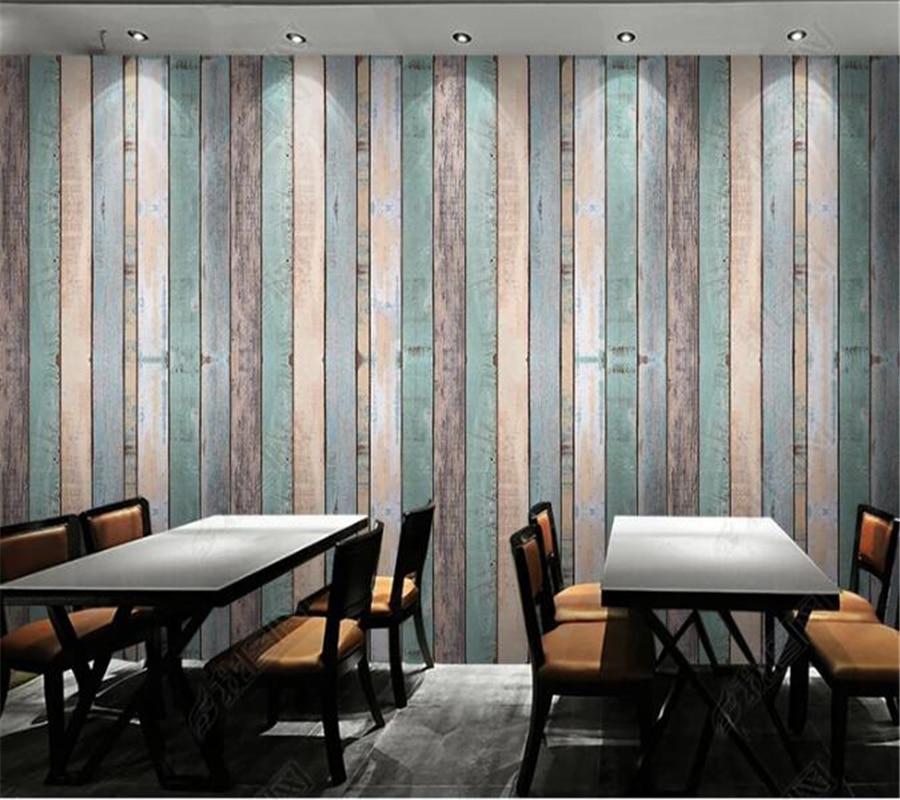 US $8.85 41% OFF|Beibehang Nach Maß Wandbild Tapete 3D Machen Alte  Gestreiften Holz Wohnzimmer Schlafzimmer Hintergrund Wand papier 3d papel  de parede ...