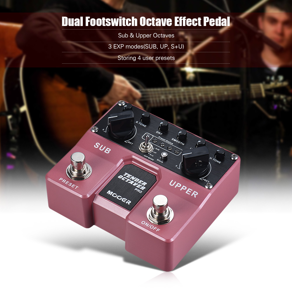 MOOER TENDER OCTAVER Pro Octave Guitar Effect Pedal Sub & Upper Octaves 4 User Presets with Dual Footswitches Guitar AccessoriesMOOER TENDER OCTAVER Pro Octave Guitar Effect Pedal Sub & Upper Octaves 4 User Presets with Dual Footswitches Guitar Accessories