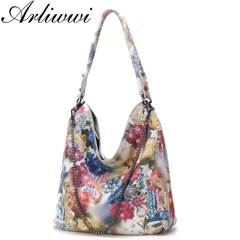 Arliwwi Designer Women s Genuine Leather shiny Floral Handbags Elegant 100 Real Leather Flower Chain Bags