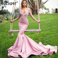 Sexy Pink Satin Long Sleeves Prom Dresses Mermaid Party Evening Dress Appliques Vestidos De Festa