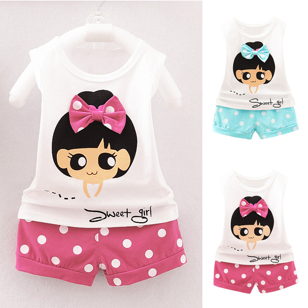 SZYADEOU Summer Infant Baby Girls Cartoon Bowknot Vest T-Shirt Tops Dot Shorts 2Pcs Set Baby Outfits Infant Girl Clothing L5