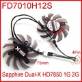 2pcs/lot Firstdo FD7010H12S DC 12V 0.35A 75mm 40x40x40mm For Sapphire Dual-X HD7850 1G 2G Graphics Card Fan 4Pin