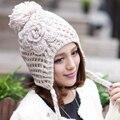 Женщины леди ручной халява уха громоздкая шапочка зима теплая шерсть Skullies крышки вязания крючком