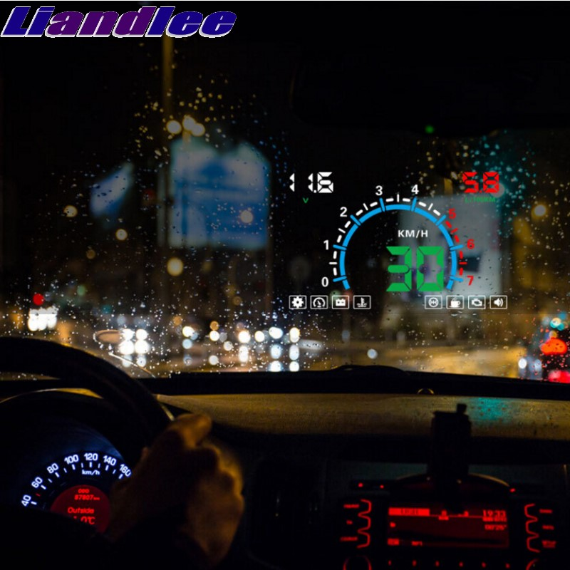 Liandlee HUD For Audi Q7 4L 4M 2005~2018 Onwrok Digital Speedometer OBD2 Head Up Display Big Monitor Racing HUD цена 2017