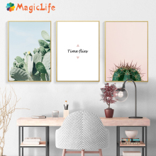 Cactus Painting Plants Wall Art Pink Posters And Prints Canvas Nordic  Landscape Quotes Decoration Unframed