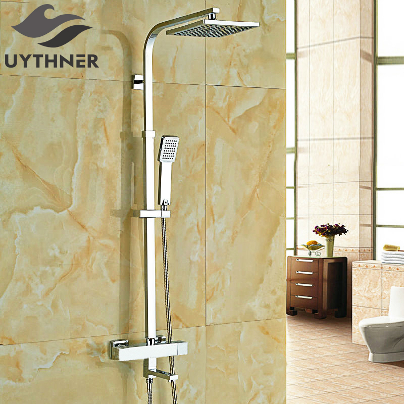 Uythner Newly 8 Inch Thermostatic Shower Set Faucet w/ Hand Sprayer Chrome Plate Rainfall Shower Tub Mixer Faucet