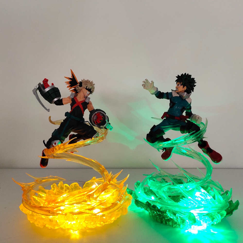 My Hero Academia Bakugou Katsuki VS Midoriya Izuku Action Figures Led Toy Boku No Hero Academia Anime Battle Scene