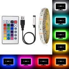 Tira de luces LED RGB SMD2835, tira de luces LED USB impermeable regulable IP20 IP65 5V, cinta LED blanca/blanca cálida