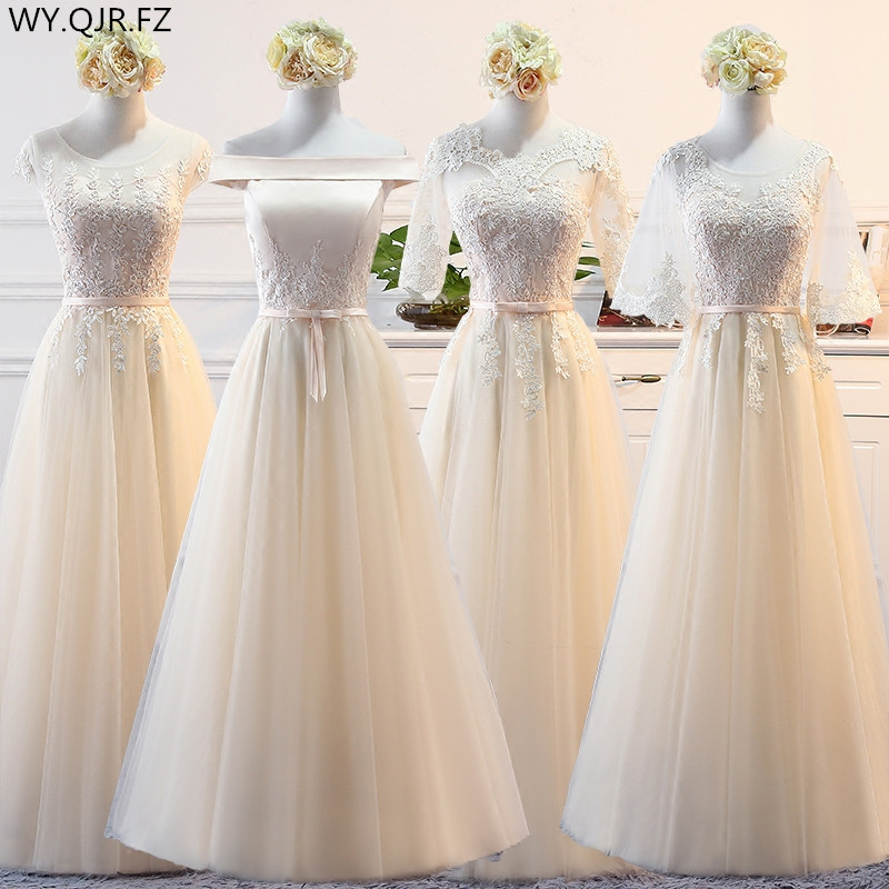MNZ598#Lace up Champagne long   Bridesmaid     Dresses   new winter 2019 cheap wholesale thewedding party prom bridal   dress