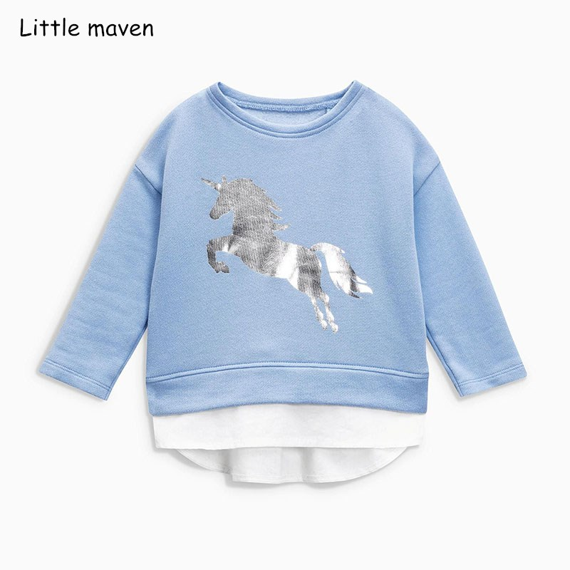 Little maven children brand baby girl clothes 2018 autumn new girls cotton long sleeve O-neck unicorn blue t shirt C0111 nautica new blue long sleeve v neck pajama top m $32 dbfl