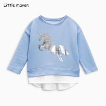 Little maven niños marca bebé niña ropa 2018 otoño nuevas niñas de algodón de manga larga cuello redondo unicornio azul camiseta C0111