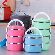 CHANOVEL Stainless Steel Bento Lunch box for Kids Thermal Food Container Food Portable Japanese Insulated Dinnerware