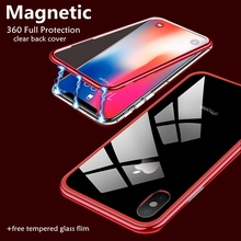 360 Full Magnetic Adsorption Phone Case For iPhone 8 7 Plus XS Max XR Clear Flip Glass Cover Coque For iPhone 6 6S Plus X Cases цена