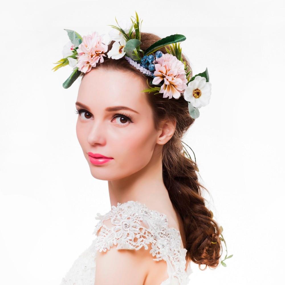 Women Flower Crown Flower Garland Headpiece For Wedding Festivals