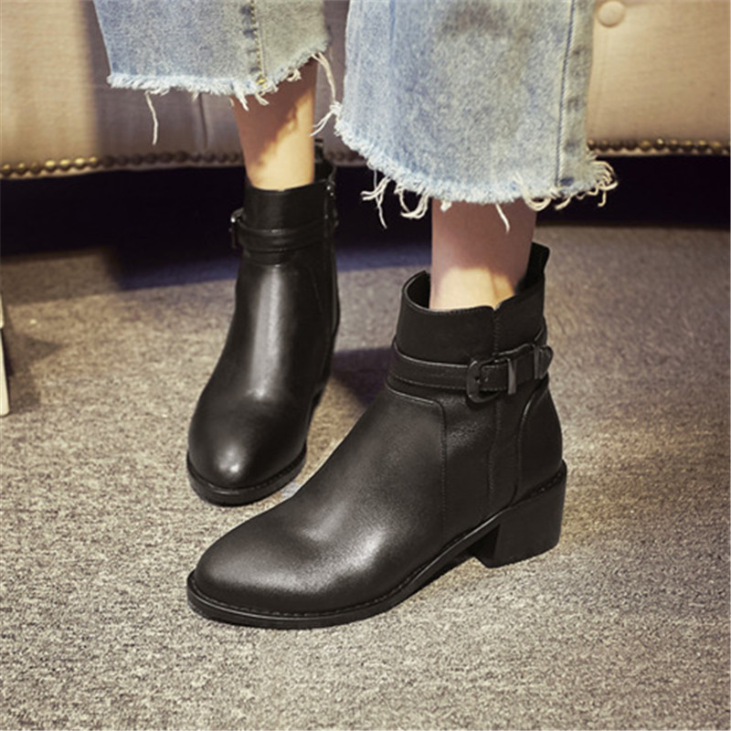 Plus Size 34-43 Autumn winter High quality genuine leather buckle rivets thick heel ankle boots Shoes fashion women martin boots mcckle women s lace up rivets buckle ankle martin boots ladies fashion thick heel platform high quality leather autumn shoes