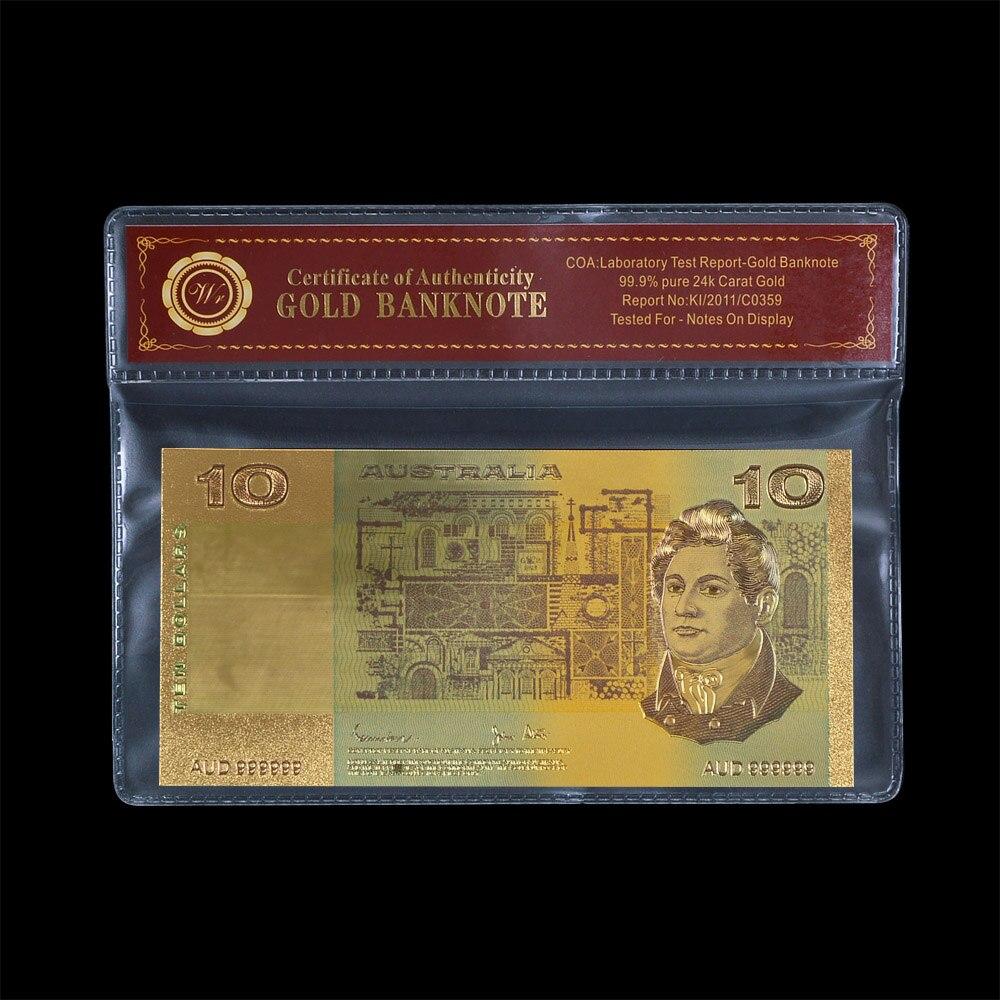 Billete de oro WR 24k Australia $10 color dólar dorado papel del mundo dinero calidad billete de Nota con soporte de plástico gratis