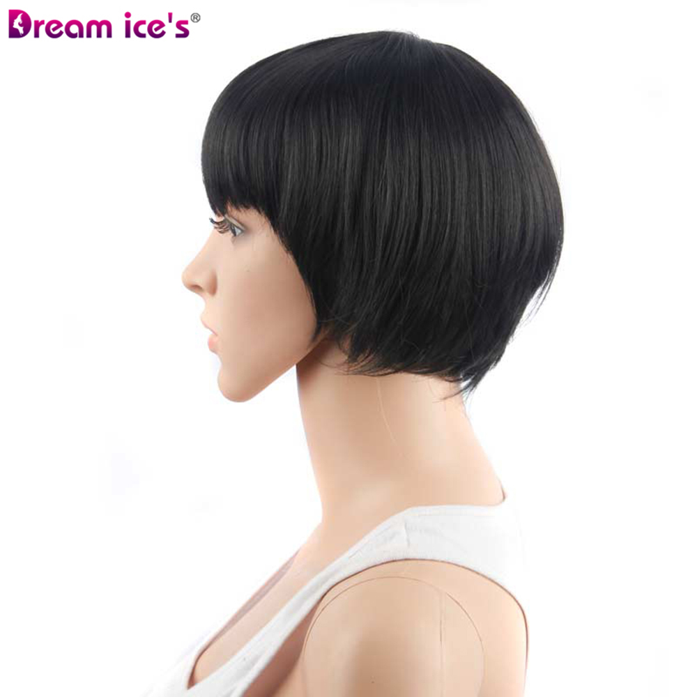 short Synthetic black brown straight bobo wigs Dream ices cosplay wig 11 inch long for women in Synthetic None Lace Wigs from Hair Extensions Wigs