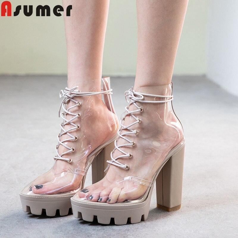 ASUMER duży rozmiar 34 41 kostki buty okrągłe toe lace up panie prom buty kwadratowe wysokie obcasy buty eleganckie panie prom buty damskie w Buty do kostki od Buty na  Grupa 1