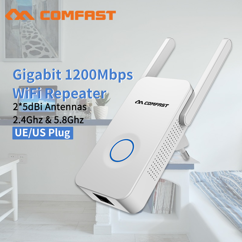Home Wifi Repeater 300-1200Mbps Wireless Wi-fi Range Extender Amplifier 5Ghz 802.11b/g/n/ac Wifi Booster Antenna AC Wi fi Router(China)