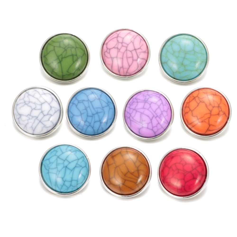 10pcs/lot New Arrivals 10 Colors 18mm Snap Button Charms fit DIY Bracelet Snaps Jewelry KZ05