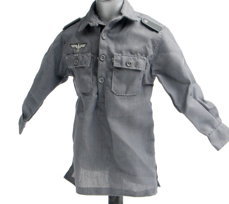 1/6 Scale Male Grey Shirt Clothing Model Toys Dragon WWII German Soldier Casual Clothing Model For 12 Action   Figure Accessory 1 6 scale nude male body figure muscle man soldier model toys for 12 action figure doll accessories