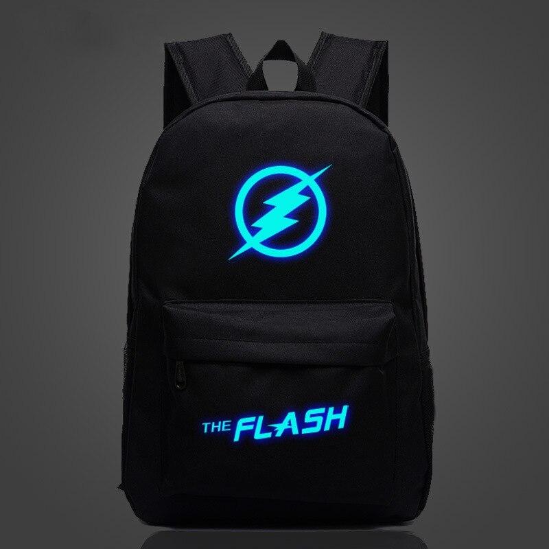Comics The Flash Luminous Backpack 18'' Casual Printing School Bag for Teenagers Men Women Travel Rucksack Mochilas Wholesale