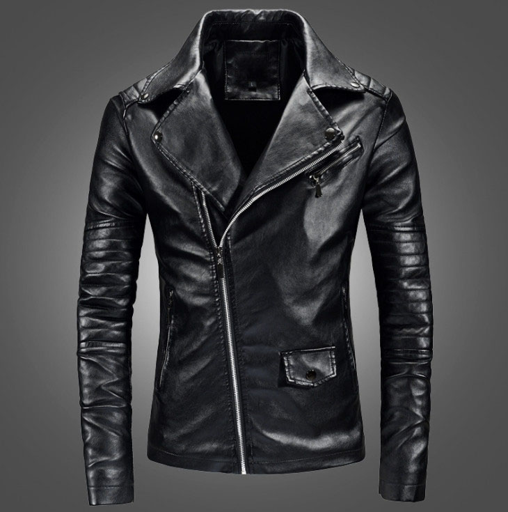 Men Casual Leather Clothes Casual Zipper PU Leather Jacket Motorcycle Leather Jacket Men Slim Fit Mens Jackets And Coats