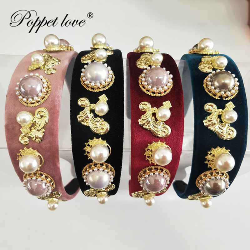 High Quality Women Pearl Hair Hoops Fashion Hairbands Color Crystal Rose Hairpin Girl Hair Accessories Wholesale Tire Head band High Quality Women Pearl Hair Hoops Fashion Hairbands Color Crystal Rose Hairpin Girl Hair Accessories Wholesale Tire Head band