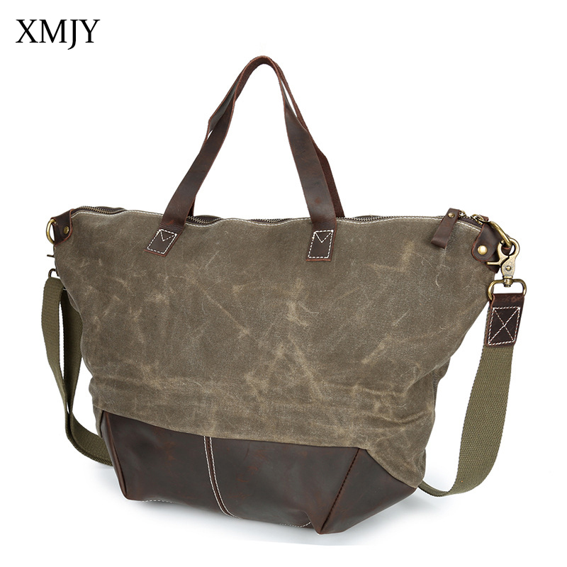 XMJY Women Handbags Canvas Leather Vintage Shoulder & Crossbody Bags Large capacity Men Ladies Waterproof Messenger bag Totes augur large capacity men women crossbody bag for pad handbags canvas shoulder bag messenger bag