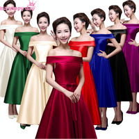 Meninas dama de honra empregada doméstica das noivas irmã da noiva vestidos de comprimento chá plus size 2018 vestido de festa azul escuro todo preto vestido B2904