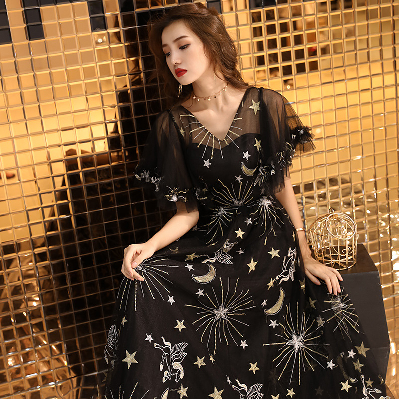 V neck Evening Dress Elegant Illusion Pearls Embroidery Party Gowns Royal Crystal Lace Bandage A line Formal Prom Dresses E315 in Evening Dresses from Weddings Events