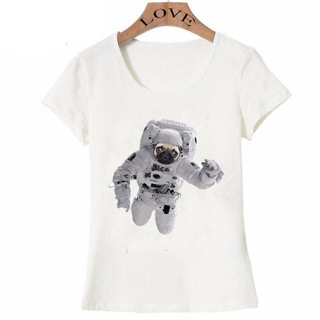 ddd2ccca 2018 spring summer Women's short sleeve Space Pug print T-Shirt Soft fabric  O-Neck casual Tops cute girl Tees funny dog T shirt