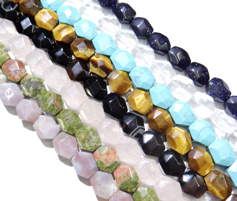 11x12mm Natural Quartzs crystal India Agates tiger eye stone Faceted Hexagon Beads for Jewelry Making DIY Bracelet 17pcs strand title=