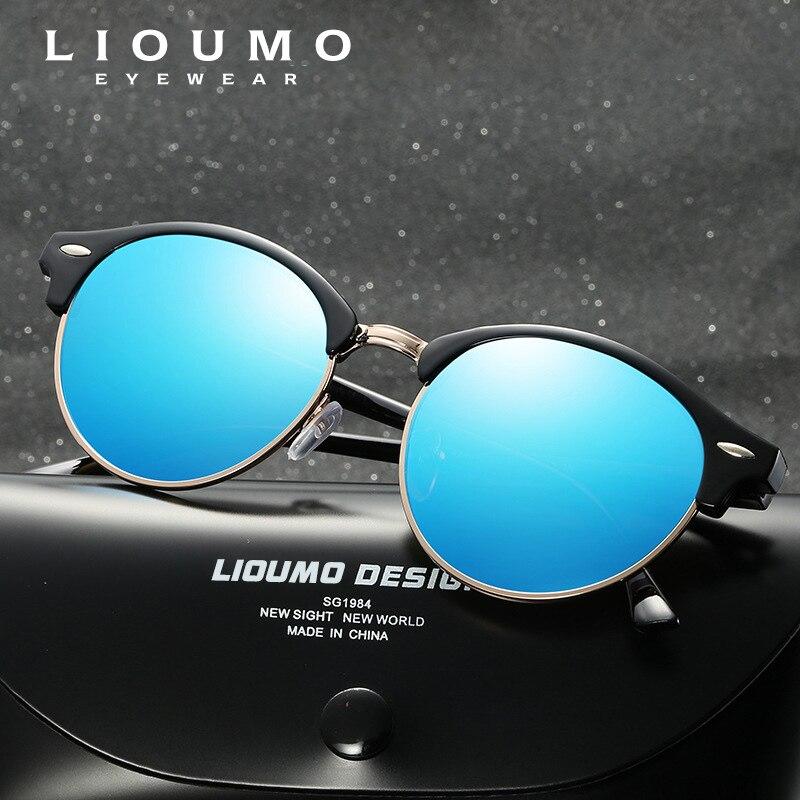 Lioumo Round HD Polarized Sunglasses Men Vintage Mirror Sun glasses Fashion Women Pink oculos de so masculino Gafas Goggles in Men 39 s Sunglasses from Apparel Accessories