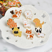 8 stili Little Dog Dello Smalto Spilla Shiba Pomeranin Corgi Bulldog Pug Labrador Spilli sacchetto di Vestiti cap Distintivo Del Fumetto animale Dei Monili(China)