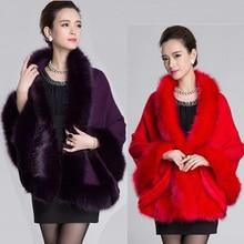 Autumn Winter Women's Cashmere Cardigan Sweater Coat Cloak Warp Plus Size Luxury Faux Fox Fur Collar Knitted Cloak H5153