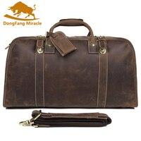 Brand New Men Genuine Crazy Horse Leather High capacity Men's Travel Duffel Bag Huge 21 Inches Vintage bags Handbag