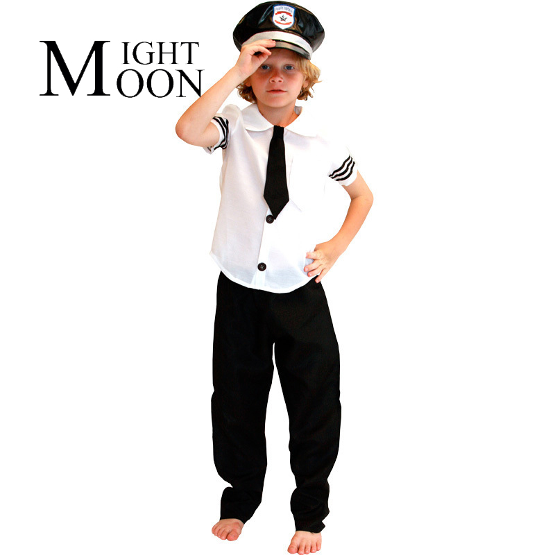 MOONIGHT Airplane Captain Cosplay Uniforms Costume Boy Halloween Costume Top+Trousers+Hat+Tie