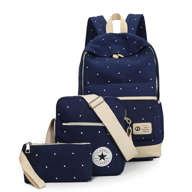 Fresh Canvas Women Backpack Teenage Girls Casual Dot Computer Travel Bag Book Bag Mochila Rucksack Preppy Style Backbag 3pcs/set