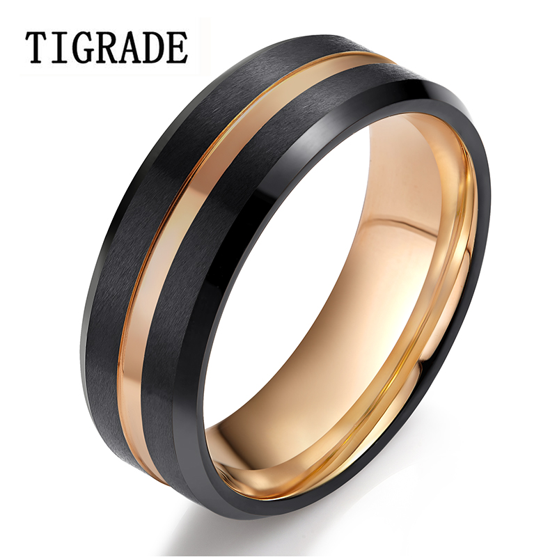 Tigrade Mens Ring 8mm Tungsten Ring Rose Gold Line Wedding ...