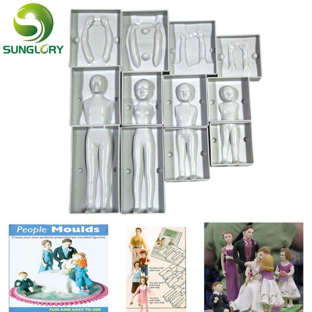 Выпечки украшения помадка 3D людей торт в форме формы фигуры Семейный комплект человеческого тела украшения плесень для создания Для мужчин...
