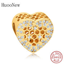 2019 Summer Fit Original Pandora Charms Bracelet Clear CZ Gold Beehive Heart Bead Pulsera 925 Sterling Silver Jewelry Bee Bangle(China)