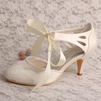 Wedopus Kobiet Closed Toe Obcasy Cone Wstążka Ivory Wedding Bridal Buty