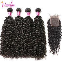 Vanlov 4 Bundles With Closure Pre Plucked Water Wave Human Hair Bundles With Closure 4*4 Peruvian Hair Weave Remy(China)
